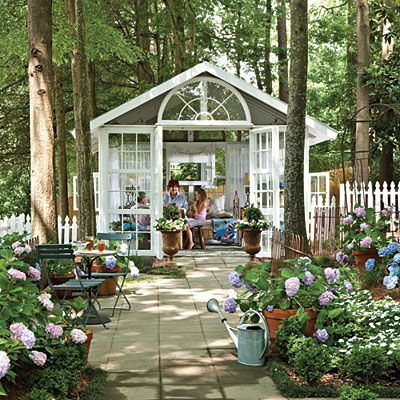 Source Guide:  Many of the items in Jeri's conservatory are vintage or one of a kind. Similar items are available from Le Jardin Blanc