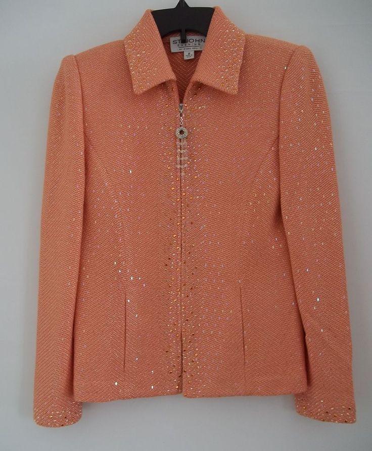 St John Evening Skirt Suit 2pc Marie Gray Peach Orange Paillettes Womens Size 2 #StJohn #SkirtSuit