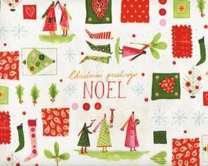 """Patchworkstoff """"Christmas Time"""" mit Weihnachts-Figuren, grün-rot"""