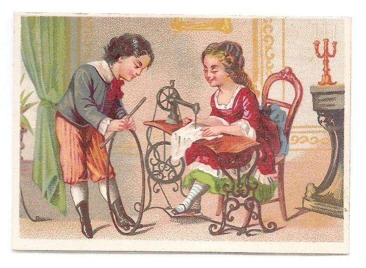 La Couturière - - Machine à coudre Enfant cerceau - Chromo E Larue - Trade Card