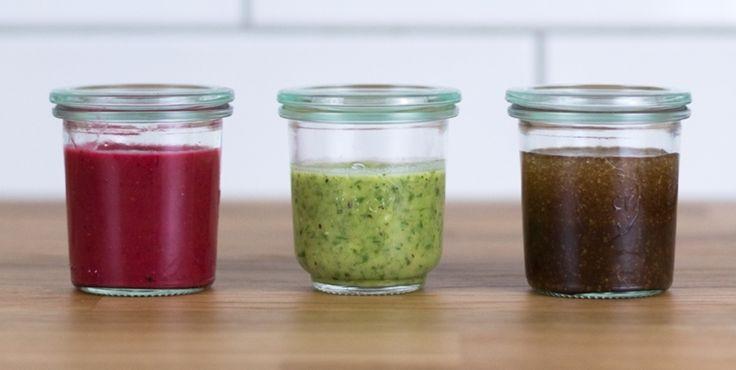 Salatdressings selbstgemacht –Bloggerin Nadine vom Food-Blog Dreierlei Liebelei zeigt Ihnen, wie sie ihre 3 Lieblings-Dressings zubereitet.