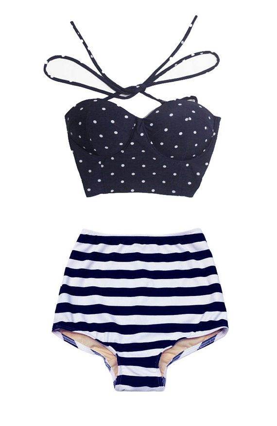 Navy Blue Polka dot Top and Navy Blue/White Stripe by venderstore. Just perfect for the summer!!!