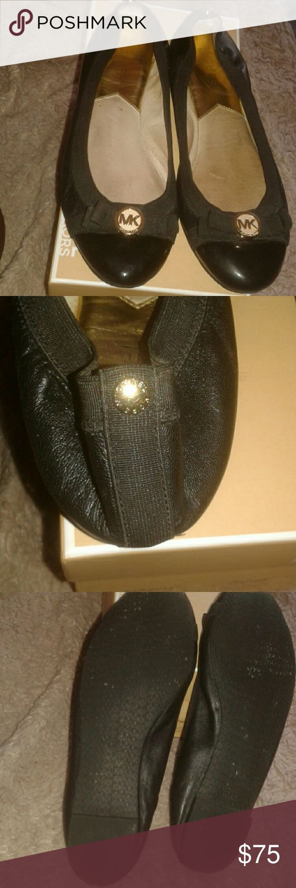 Michael Kors  DIXIE  Ballet Dixie Ballet ribber sole flats signature MK with black ribbon in good condition MICHAEL Michael Kors Shoes Flats & Loafers