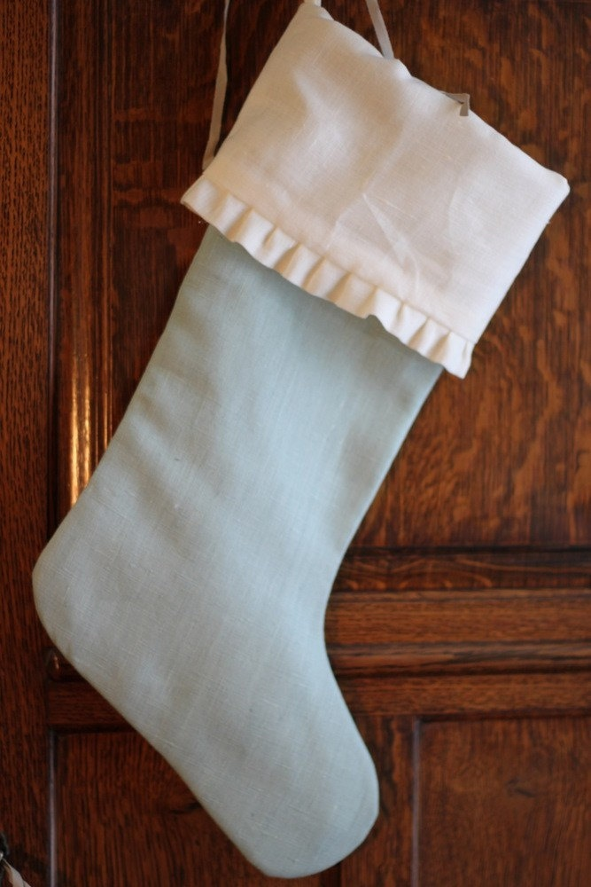 """White and Ice Blue Linen 18"""" Christmas Stocking with Ruffled Cuff Robins Egg Aqua Silver Sage"""