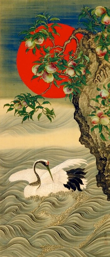 Lucky symbols, crane, sun, peach tree