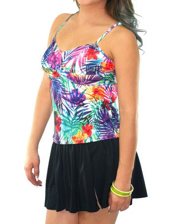 Another great find on #zulily! Purple & Black Jungle Tankini Top & Skirted Bottoms #zulilyfinds