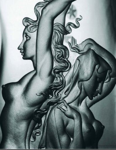 Václav a Miroslav Plátek - Day and Night. Made Lobmeyr works of Umělecké sklo Kamenický Šenov 1948