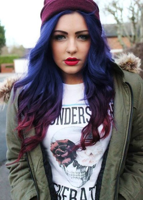 blue-purple to red-purple ombre. If I had long hair this is how I would do it