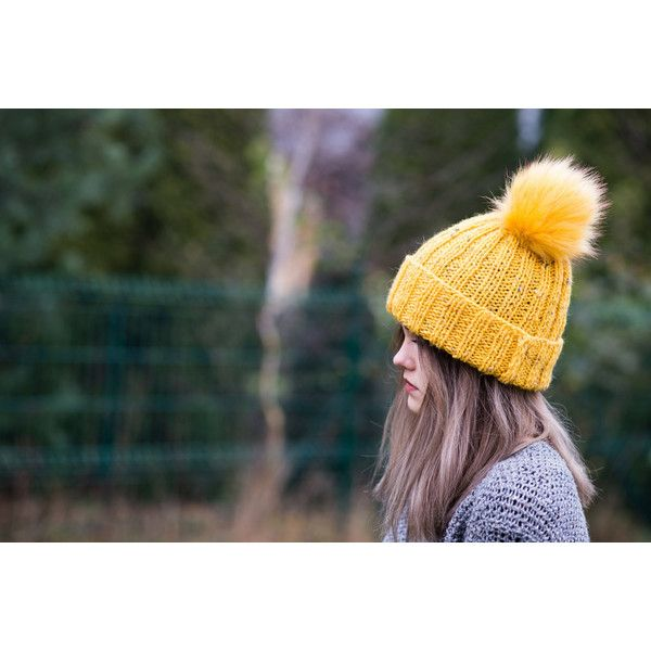Pompom hat, Yellow beanie Yellow knit hat, Yellow pompom beanie hat,... (€37) ❤ liked on Polyvore featuring accessories, hats, yellow knit hat, pom beanie, pom pom beanie hat, knit hat and oversized beanie hats