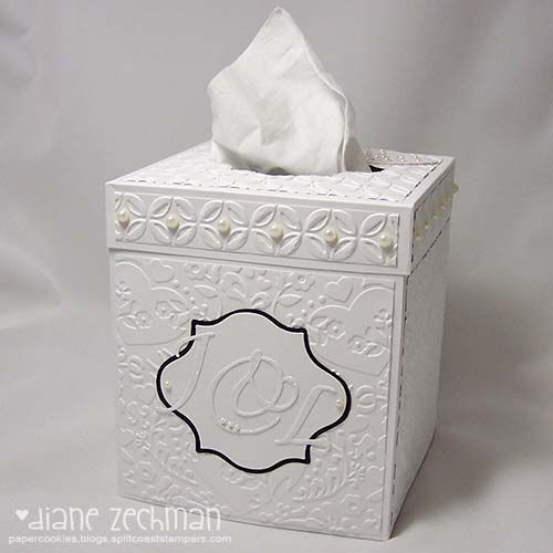 another tissue box cover and video tutorial.  Stunning! ... http://papercookies.blogs.splitcoaststampers.com/2010/10/20/another-tissue-box-cover-and-video-tutorial/#