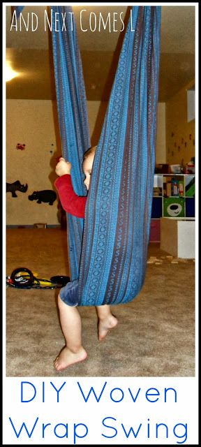 Make your own sensory swing by converting a woven wrap.  Visit pinterest.com/arktherapeutic for more #sensory #spd ideas