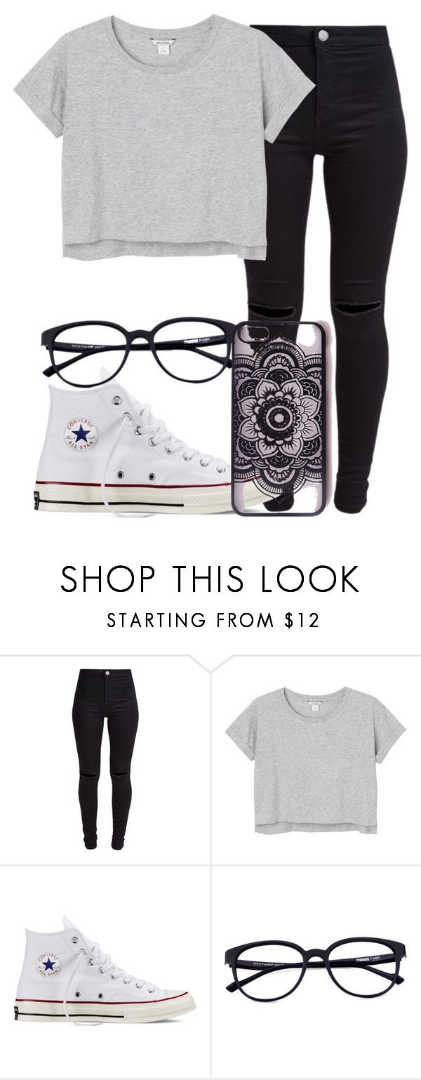 """8.2"" by mallorimae ❤ liked on Polyvore featuring New Look, Monki, Converse and Missguided"