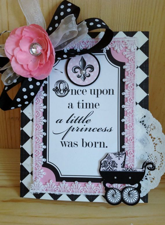 New Baby Girl Card Welcome Baby Card Baby by MyPrettyPaperGifts, $8.49