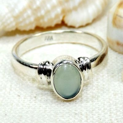 Blue Chalcedony Stone, Gemstone Jewelry, Semi-Precious Ring, Faceted Ring, Gemstone Ring, Unique Ring