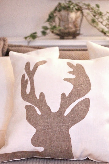 Deer pillow- for your bed room but you can do the colors your going to do in the bed room for Jason's bedroom theme :)