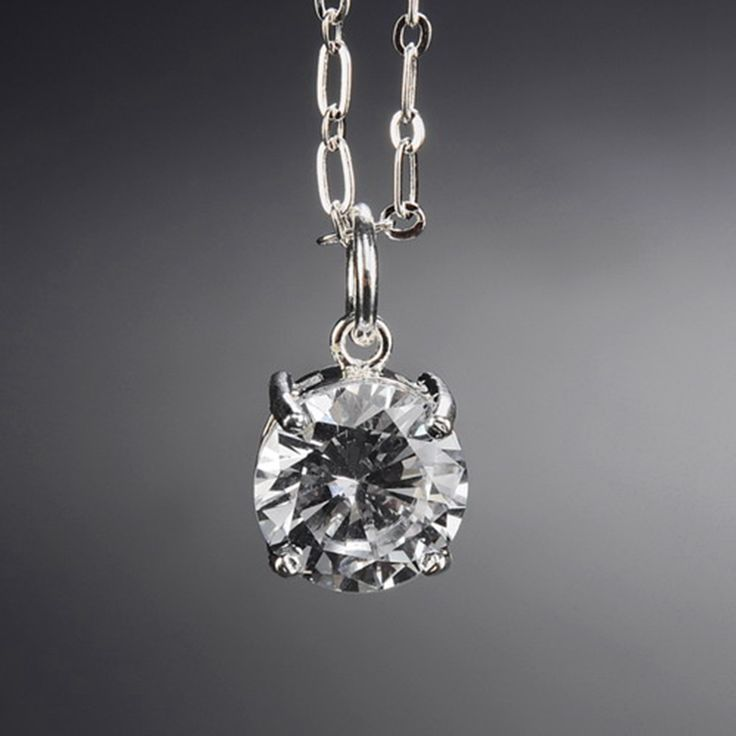 Natural Crystal Round Square Zircon Pendant Necklaces Silver Plated Copper Link Chain Necklace Unisex Gift