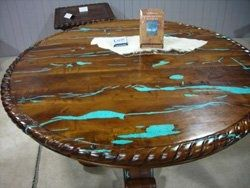 Turquoise Inlay Mesquite Furniture