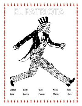 """This exciting coloring lesson of """"El Patriota""""  is a great tool to review colors, clothing and body parts. The lesson includes 12 body parts vocabulary words that need to be used in order to complete the coloring key. Great for MEMORIAL DAYGreat lessons to review clothing vocabulary."""