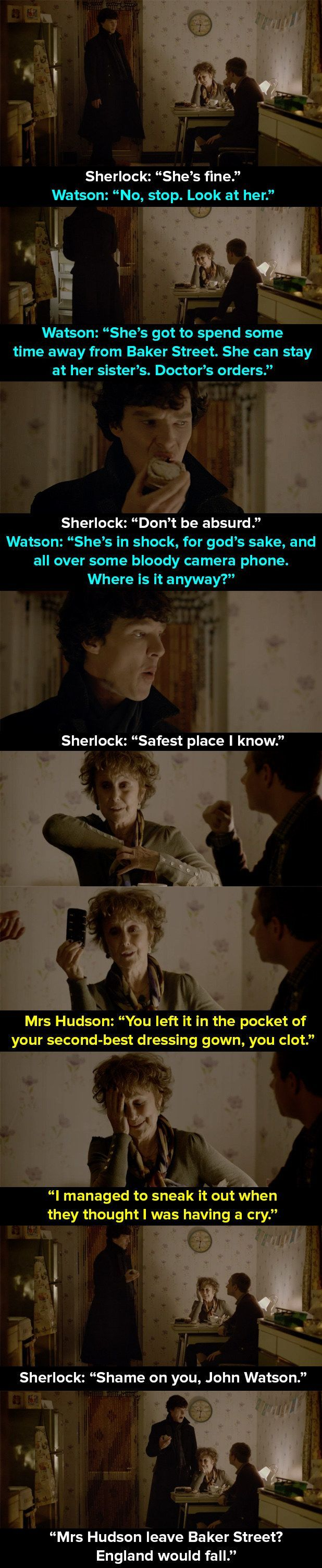 "When Mrs Hudson is held hostage in the apartment. | 14 Times Mrs Hudson Was The Best Thing About ""Sherlock"" #IAmAGeek"