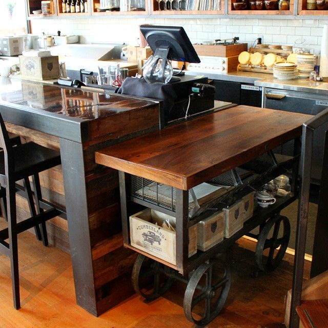 Whether you're looking for Industrial Furniture for your own home or for a business / restaurant / cafe , we have a great selection for everyone! One of our IND118-B 3 Bin Wood Top Trolley Carts being put to good use in a client's restaurant! Great as a serving station, kitchen island, or even a counter bar! Check out our website for much more!