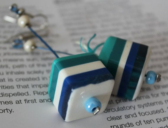 Summer Earrings/Cube earrings/Dangle earrings/OOAK by Ninodesigns