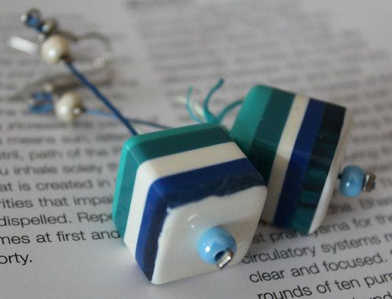 Summer Earrings/Cube earrings/Dangle earrings/OOAK by Ninodesigns