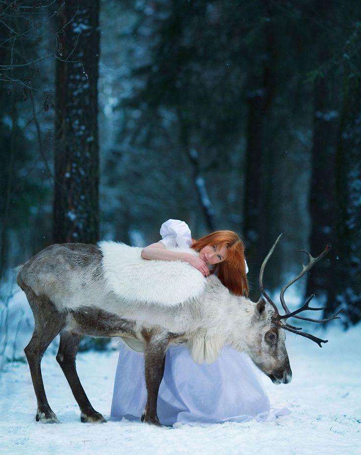 Contos de fada recriados por Darya Kondratyeva  com animais reais.