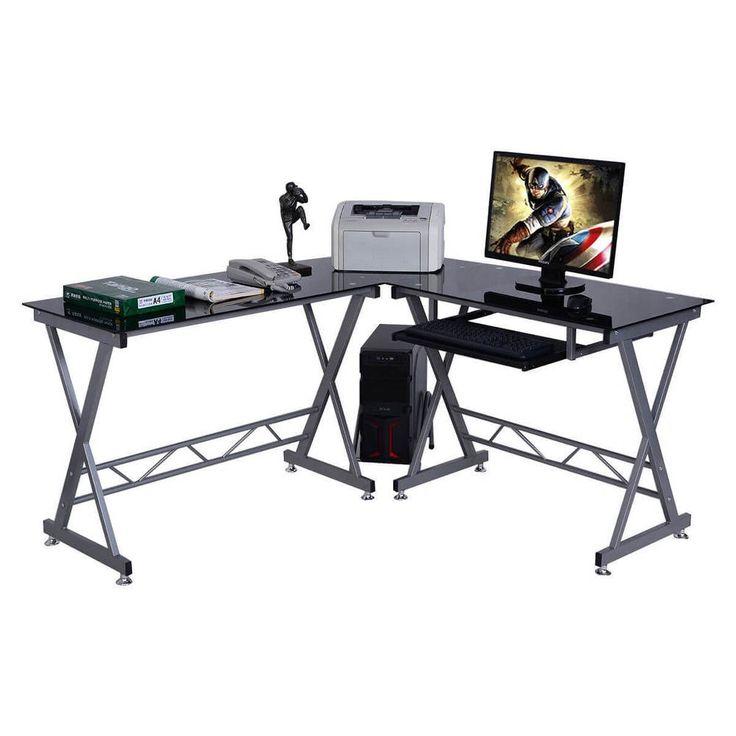 L Shaped Computer Desk PC Glass Top Workstation Furniture Office Laptop Table #1