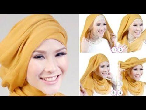 Tutorial Hijab Paris Segi Empat Ke Pesta (Kombinasi Tile) - YouTube