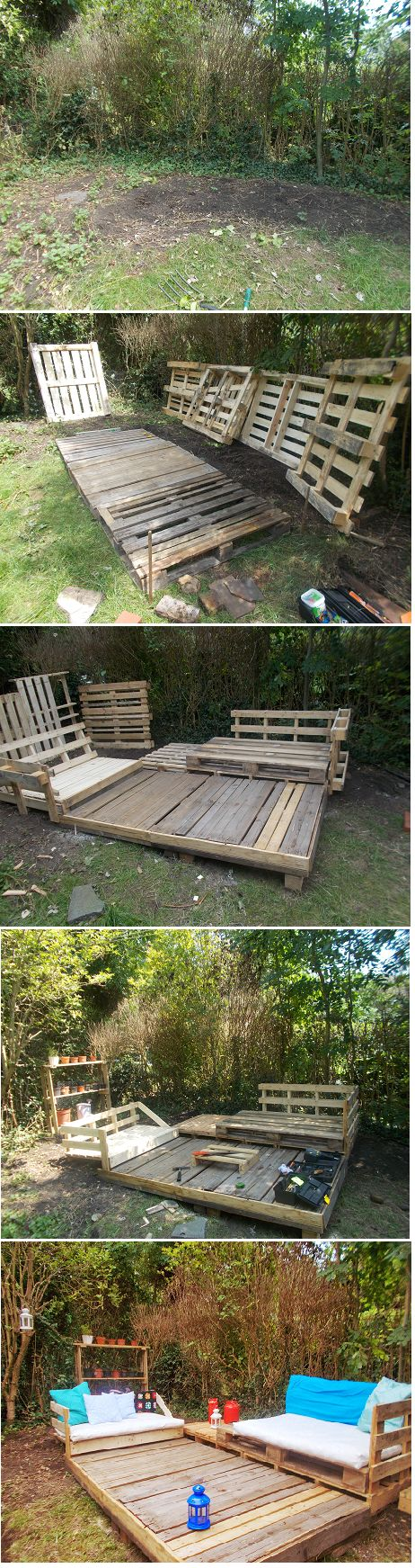 My pallet project. Thank you to Pinterest for all the ideas I have collected. I built this from free scab pallets and leftover fabric and unused cushions. I only spent a 20 quid for candle deco and some plants. This is my nest...