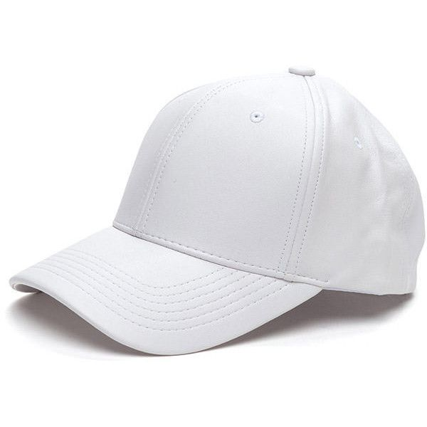Even Better On Faux Leather Cap WHITE (199.305 IDR) ❤ liked on Polyvore featuring accessories, hats, white, adjustable hats, white baseball cap, holiday hats, cocktail hat and velcro hat