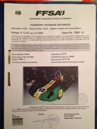 Lotus 23 B , FIA sport car For Sale (1963)