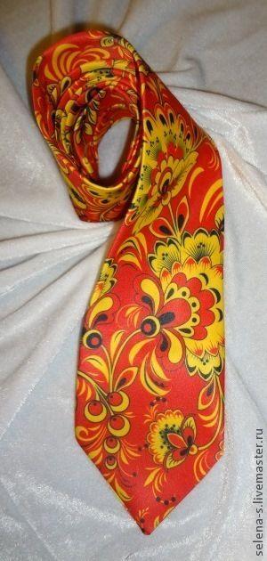 Галстук ХОХЛОМА (Красный ) - хохлома,гжель,русский узор,русский стиль
