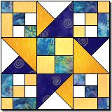 Checkerblock Star, really like this one.    Not enough contrast... star will get lost in the background chain....     I would like to see the whole quilt... might be good in RED, GOLD, WHITE AND BLUE... but that is just me