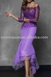 AM037 Elegant long sleeve lace mermaid purple sexy mother of the bride dresses tea length