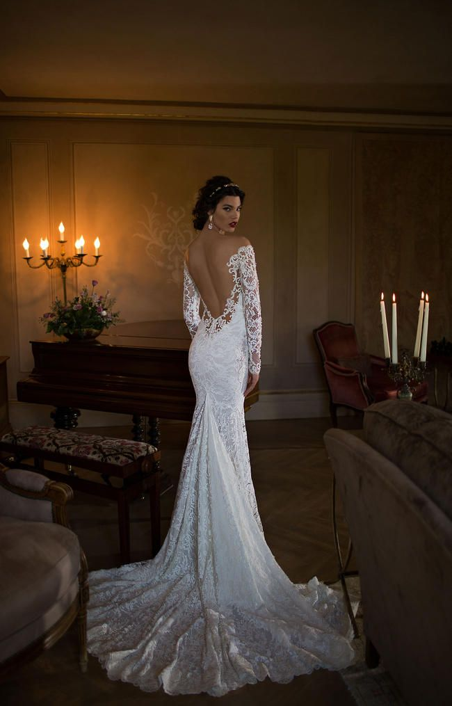 Long sleeved lace backless Berta Bridal Gown from the 2015 collection