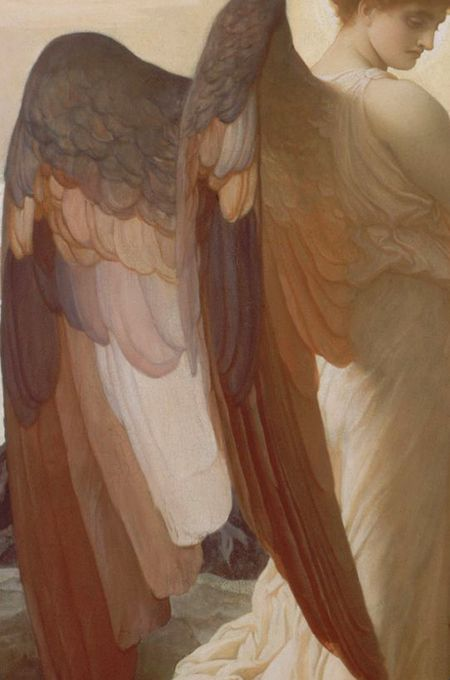 Traveling through history of Art...Elijah in the Wilderness, detail, by Frederic Leighton, 1877-78.