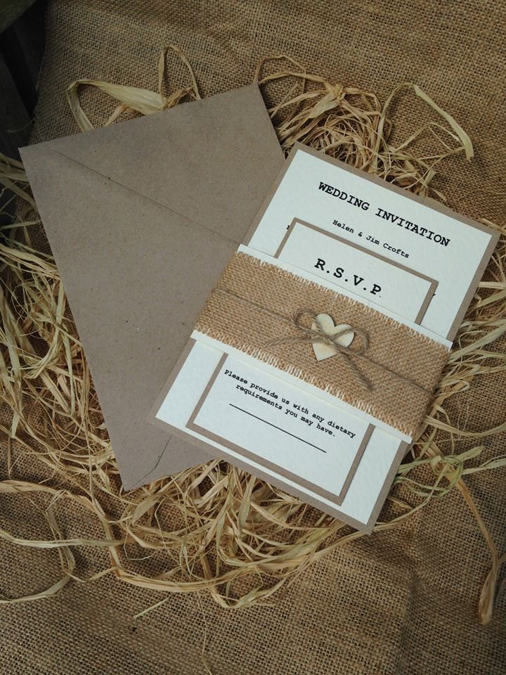 Rustic hessian wedding invitation £4.65 each                              …