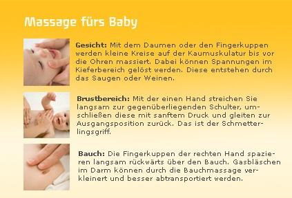 Abbildung Massage fürs Baby Gesicht, Brustbereich und Bauch