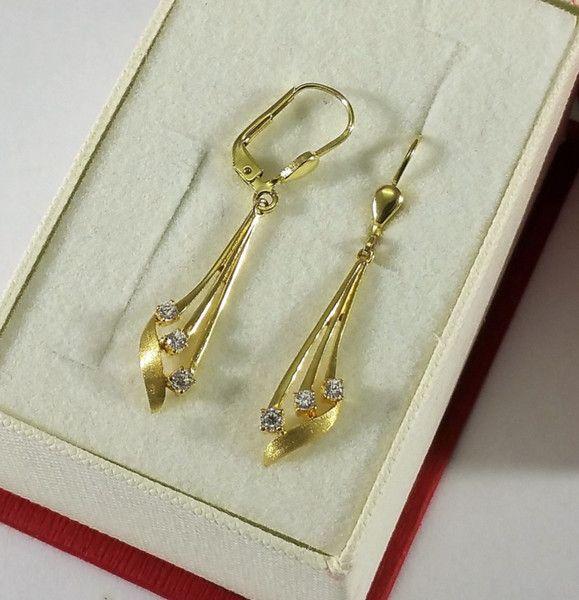Vintage Ohrhänger - Ohrringe Hängeohrringe Gold 333 Kristalle OR133 - ein Designerstück von Atelier-Regina bei DaWanda
