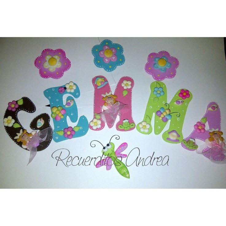 Letras decoradas para el cuarto del bebe o clinica recuerdit bsf caligrafia pinterest - Letras decoradas infantiles ...