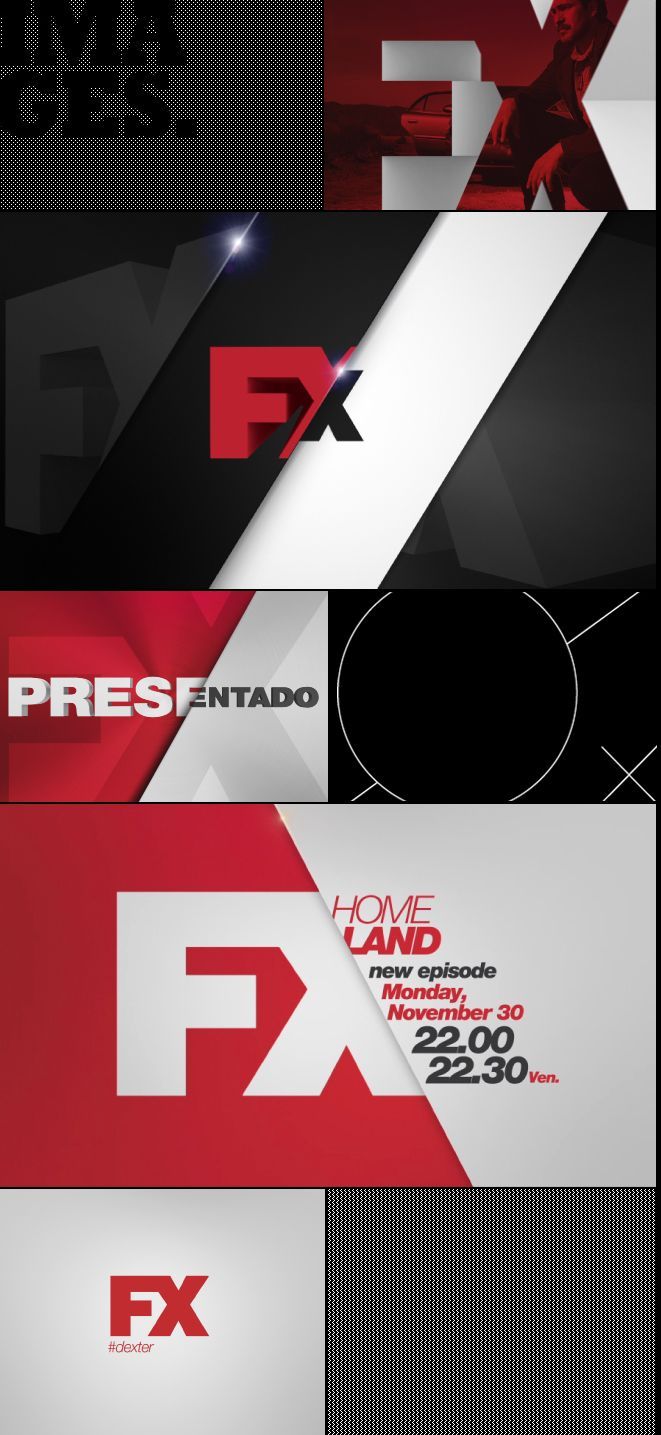 Angles / Logo Use /// FX channel branding. Moton design styleframes in broadcast graphics