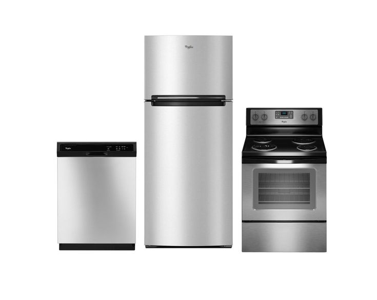 KIT Whirlpool 3-Piece Stainless Steel Kitchen Appliance Package with Electric Range