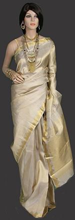 Cream and gold kanjeevaram