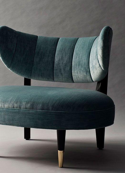 Rue side chair with green velvet upholstery /