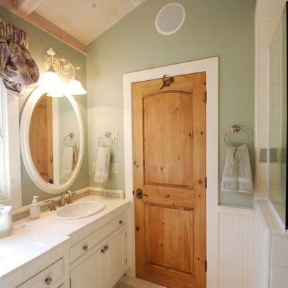white trim pine stained door - Google Search