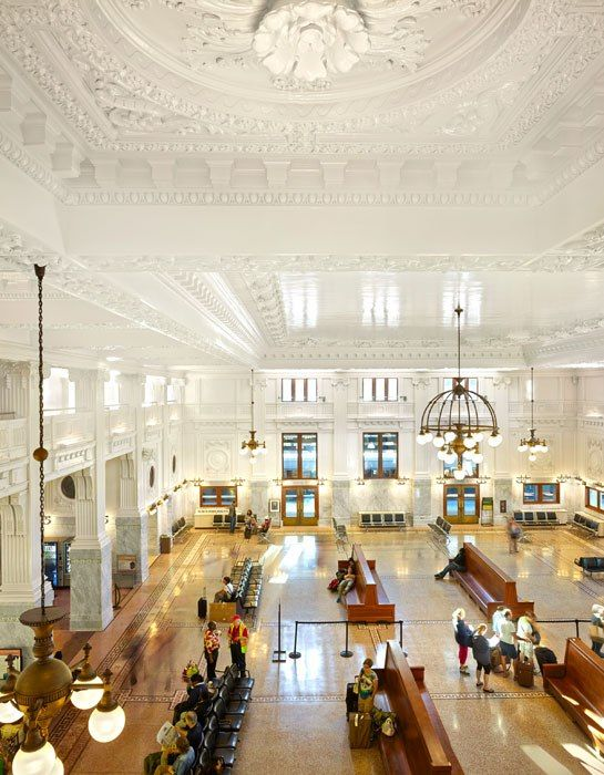 Sinfully, this ceiling was hidden for decades by a false ceiling. Seattle's Historic King Street Station Restored - The renovated interior of Seattle's King Street Station, completed by ZGF Architects, showcases the ceiling's stunning early-20th-century plasterwork.  Photo: Benjamin Benschneider/Otto