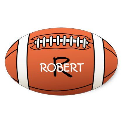 Personalized name and monogram template rugby ball oval sticker - template gifts custom diy customize