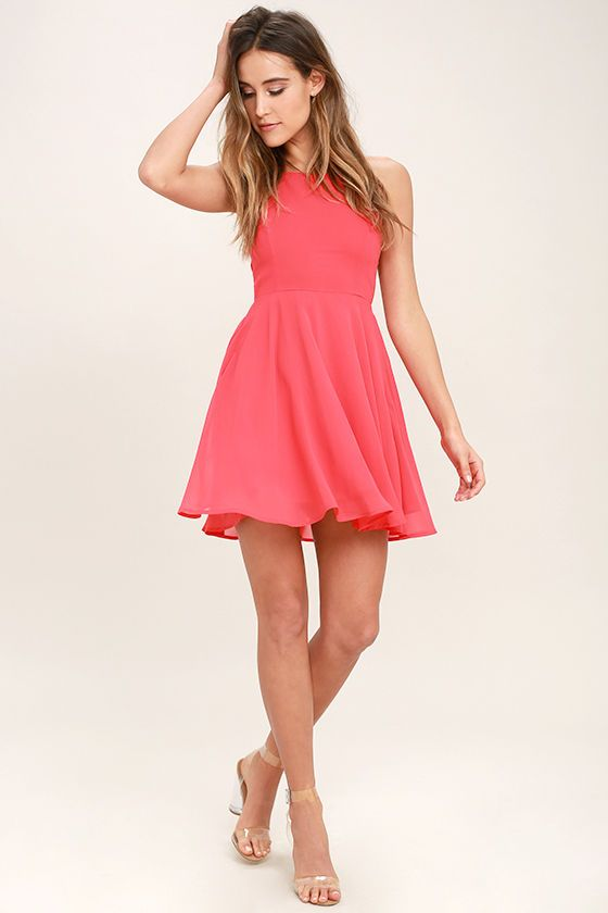 Lulus Exclusive! Reward your good behavior with a treat like the Good Deeds Coral Pink Lace-Up Dress! Dreamy, lightweight Georgette sweeps across this bright coral pink dress with a princess-seamed bodice, and strappy apron neckline, plus a lacing open back. Full skater skirt has a bit of elastic at back. Hidden back zipper.