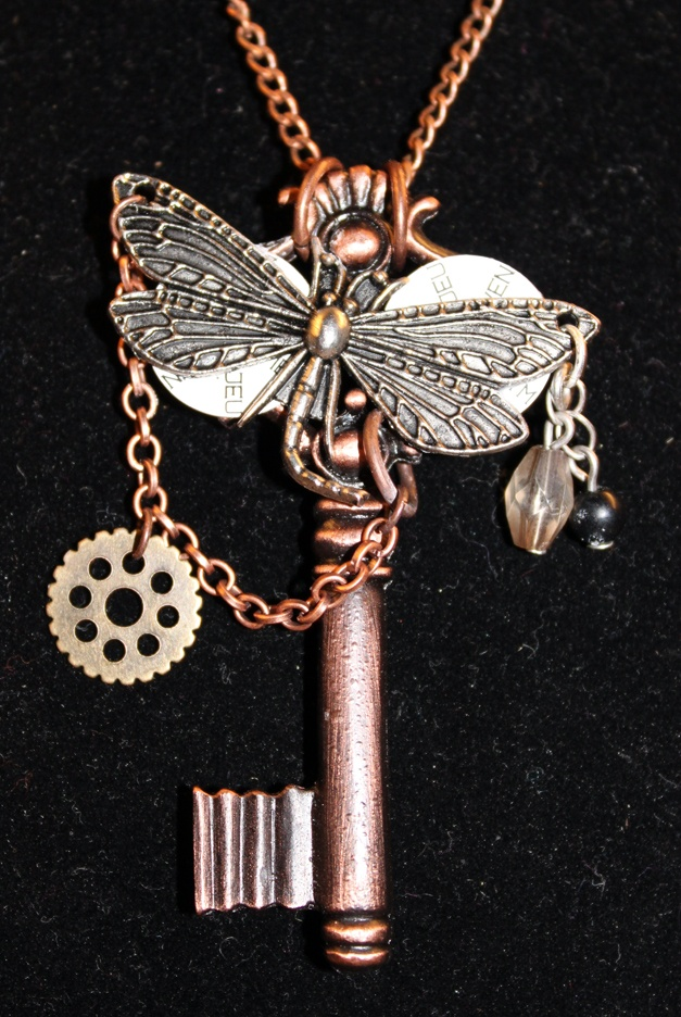 Steampunk dragonfly on key necklace  Buy now $20.00